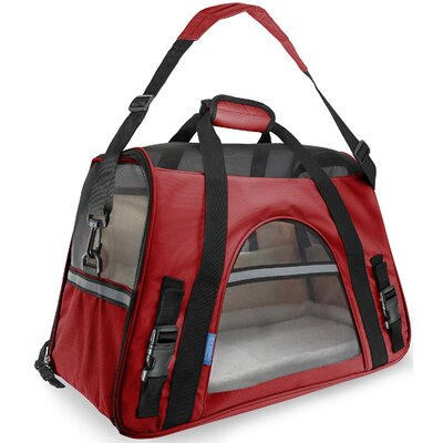 Pet Carrier with Fleece Bed Airline Approved Color: Red, Size: 19 H x 13 W x 10 D