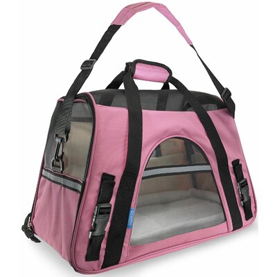 Pet Carrier with Fleece Bed Airline Approved Size: 19 H x 13 W x 10 D, Color: Pink