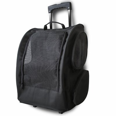 Rolling Backpack Pet Carrier Color: Black