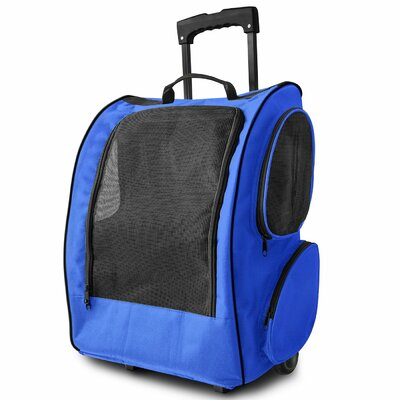 Rolling Backpack Pet Carrier Color: Blue