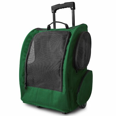 Rolling Backpack Pet Carrier Color: Green