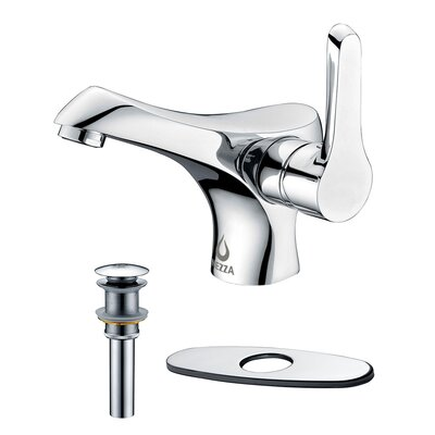 Falcon Single Handle Bathroom Faucet, Pop-up Drain without Overflow and Deck Plate Finish: Chrome