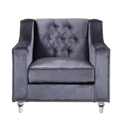 Dylan Silver Nailhead Trim Button Tufted Armchair Upholstery: Gray