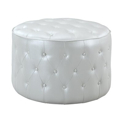 Marley Button Tufted Pouf Leather Ottoman Upholstery Color: Beige