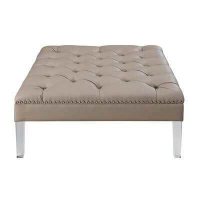 Twain Leather Ottoman Upholstery Color: Taupe
