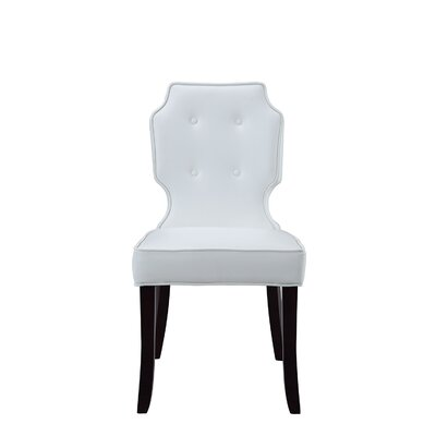Iconic Home Lennon Leather Modern Contemporary Button Tufted Turned Wooden Leg Dining Chair Upholstery: White