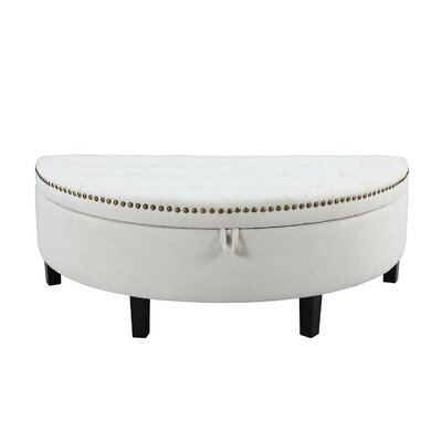 Jacqueline Button Tufted Half Moon with Gold Nailhead Trim Storage Ottoman Color: Cream White