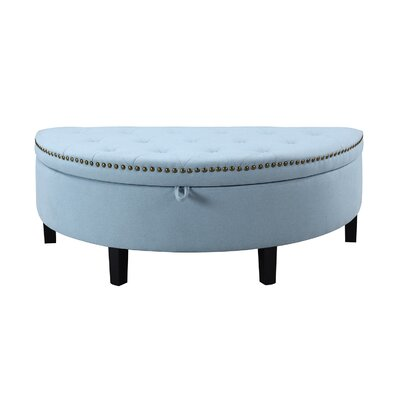 Jacqueline Button Tufted Half Moon with Gold Nailhead Trim Storage Ottoman Color: Blue