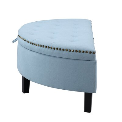Iconic Home Jacqueline Velvet Modern Contemporary Button Tufted Gold Nailhead Trim Half Moon Storage Ottoman Color: Blue