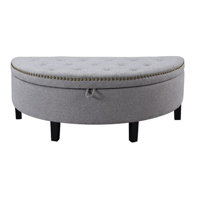 Jacqueline Button Tufted Storage Ottoman Color: Grey