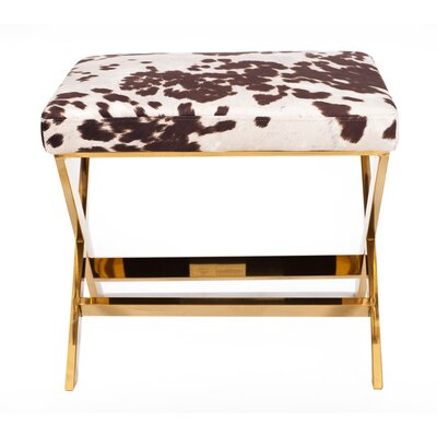 Diddle Cow Print Ottoman Upholstery Color: Udder Madness Milk, Finish: Goldtone