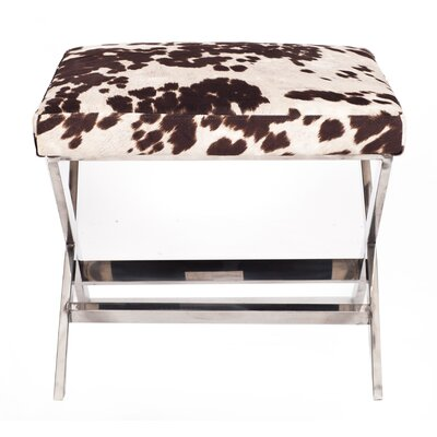 Diddle Cow Print Ottoman Finish: Goldtone, Upholstery Color: Udder Madness Black