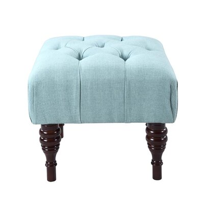 Bach Button Tufted Sculpted Leg Ottoman Upholstery Color: Emerald Green
