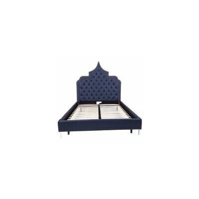 Casablanca Upholstered Panel Bed Size: King, Color: Navy Blue