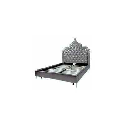Casablanca Upholstered Panel Bed Color: Silver, Size: Queen