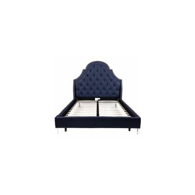 Napoleon Upholstered Panel Bed Color: Navy Blue, Size: Queen