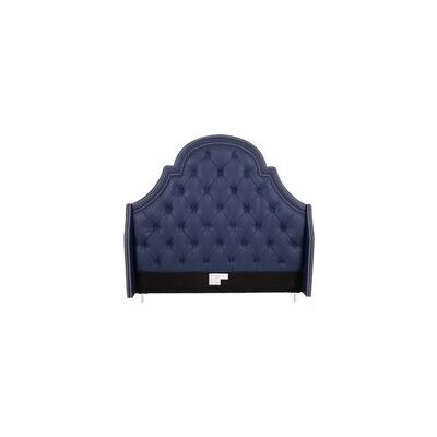 Napoleon Upholstered Wingback Headboard Color: Navy Blue, Size: Queen