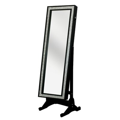 Glitzy Crystal-Bordered Rectangular Jewelry Armoire with Mirror Finish: Elegant Black