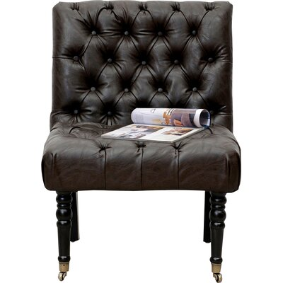Hendrix Front Castered Leg Button Tufted Side Chair Color: Dark Brown
