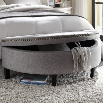 Iconic Home Jacqueline Velvet Modern Contemporary Button Tufted Gold Nailhead Trim Half Moon Storage Ottoman Color: Grey
