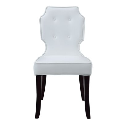 Iconic Home Lennon Leather Modern Contemporary Button Tufted Turned Wooden Leg Dining Chair Color: White