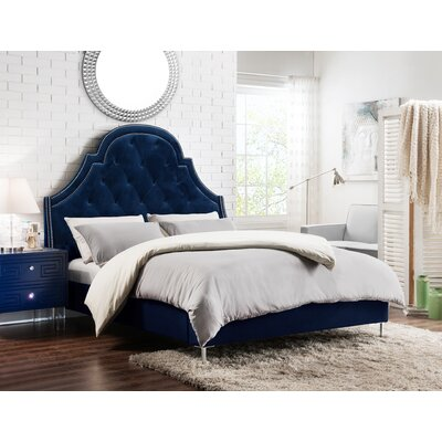 Napoleon Upholstered Panel Bed Size: King, Color: Navy Blue
