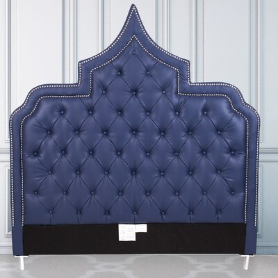 Casablanca Upholstered Panel Headboard Size: King, Color: Navy Blue