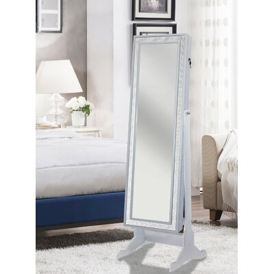 Rainer Crystal-Bordered Rectangular Jewelry Armoire with Mirror Color: Pristine White