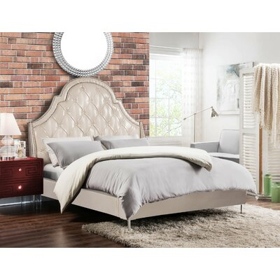 Napoleon Upholstered Panel Bed Size: Queen, Color: Cream White
