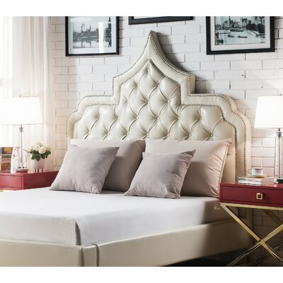 Casablanca Upholstered Panel Headboard Size: King, Color: Cream White