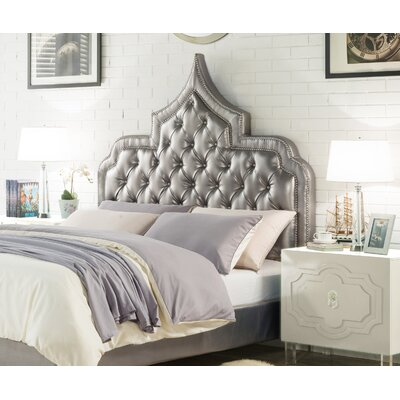 Casablanca Upholstered Panel Headboard Color: Silver, Size: Queen