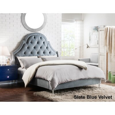 Napoleon Upholstered Panel Bed Color: Slate Blue, Size: Queen