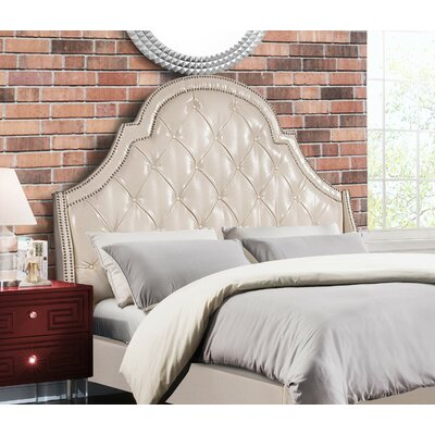 Napoleon Upholstered Wingback Headboard Size: King, Color: Cream White