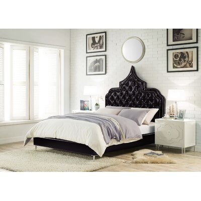 Casablanca Upholstered Panel Bed Size: King, Color: Black