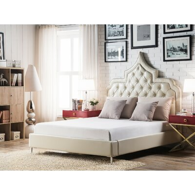 Casablanca Upholstered Panel Bed Size: Queen, Color: Cream White