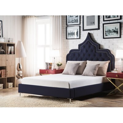 Casablanca Upholstered Panel Bed Size: King, Color: Navy Blue