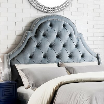 Napoleon Upholstered Wingback Headboard Size: Queen, Upholstery: Slate Blue