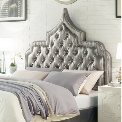 Casablanca Upholstered Panel Headboard Size: King, Color: Silver