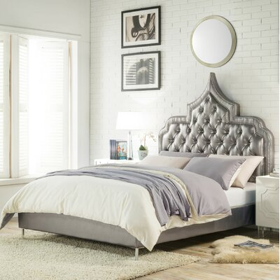 Casablanca Upholstered Panel Bed Size: King, Color: Silver