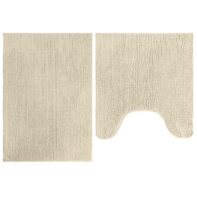 2 Piece Popcorn Bath Mat Set Color: Ivory