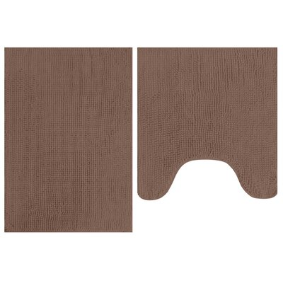 2 Piece Popcorn Bath Mat Set Color: Chocolate