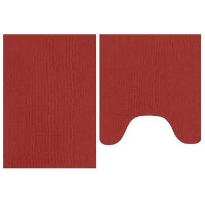 2 Piece Popcorn Bath Mat Set Color: Red