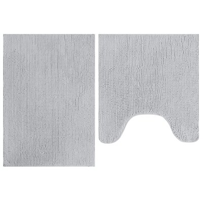 2 Piece Popcorn Bath Mat Set Color: Gray