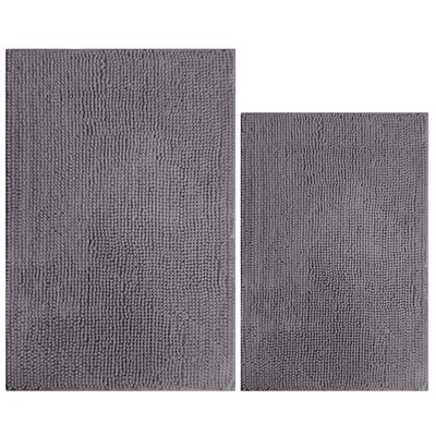 2 Piece Popcorn Bath Mat Color: Shale