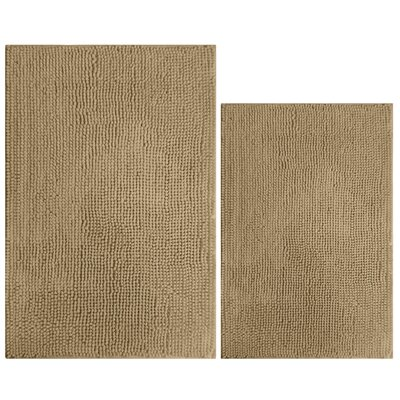 2 Piece Popcorn Bath Mat Color: Taupe