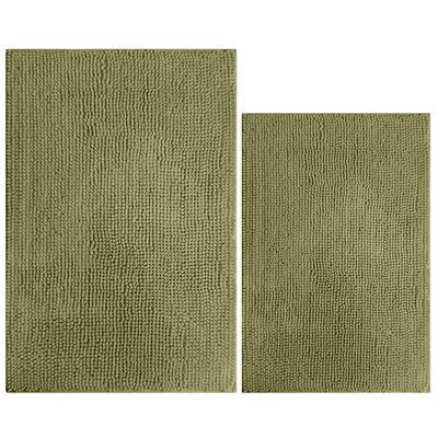 2 Piece Popcorn Bath Mat Color: Moss