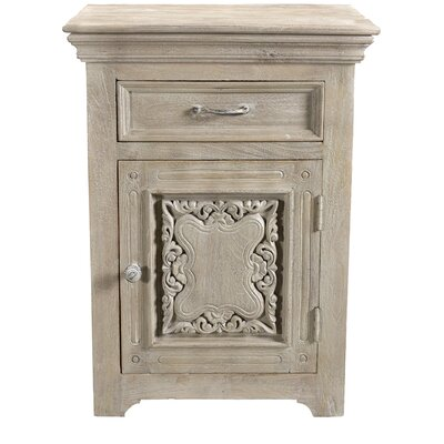 Patchway Carved 1 Drawer 1 Door Nightstand Door Configuration: Right