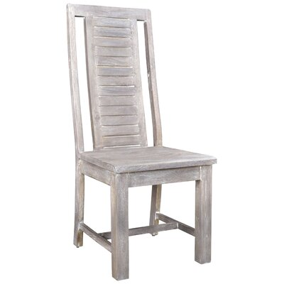 Maliyah Stripe Solid Wood Dining Chair Color: Gray