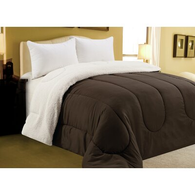 Sherpa Comforter Color: Chocolate, Size: King