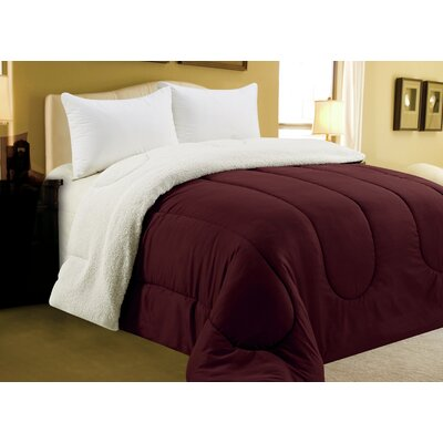 Sherpa Comforter Color: Brick, Size: King